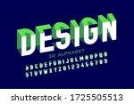 3d style modern font  alphabet... | Shutterstock .eps vector #1725505513