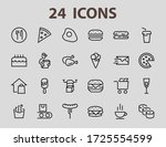a simple set of fast food icons ... | Shutterstock .eps vector #1725554599