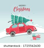 Vector Picture With Red Car An...