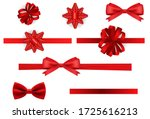 Realistic Set Gift Bow Red...