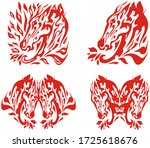 flaming horse head and... | Shutterstock . vector #1725618676