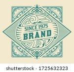 vintage label with floral... | Shutterstock .eps vector #1725632323