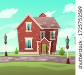 victorian retro style building. ... | Shutterstock .eps vector #1725753589
