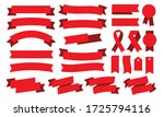 flat design red ribbon icon | Shutterstock .eps vector #1725794116