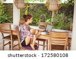 beautiful woman sitting near... | Shutterstock . vector #172580108