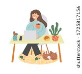 work at home  online education... | Shutterstock .eps vector #1725817156