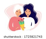 daughter gives mother flowers.... | Shutterstock .eps vector #1725821743