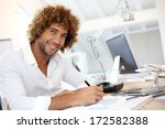 handsome smiling businessman in ... | Shutterstock . vector #172582388