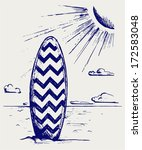 surfboards on a beach. doodle... | Shutterstock .eps vector #172583048