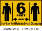 social distance sign board with ... | Shutterstock . vector #1725841540