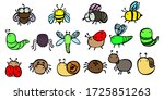 line insects in color. set of... | Shutterstock .eps vector #1725851263
