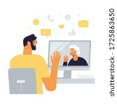 man with grandmother in a video ... | Shutterstock .eps vector #1725863650