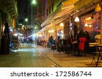 night cafe in the narrow... | Shutterstock . vector #172586744