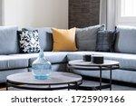 Elegant Fabric Grey Sofa With...