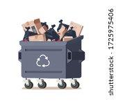 house trash bin. cardboard box. ...   Shutterstock .eps vector #1725975406