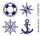 Set Of Marine Symbols  Vector...
