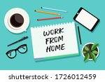 concept of working at home.... | Shutterstock .eps vector #1726012459