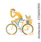 the courier in a mask and... | Shutterstock . vector #1726042903