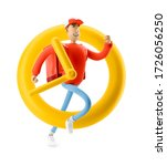 delivery guy is in a hurry to... | Shutterstock . vector #1726056250