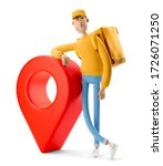 delivery guy in yellow uniform... | Shutterstock . vector #1726071250