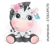cute zebra with watercolor... | Shutterstock .eps vector #1726139170