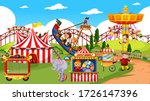 themepark scene with many rides ... | Shutterstock .eps vector #1726147396