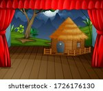 Wooden Cottage With Landscape...