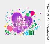 happy birthday with heart.... | Shutterstock .eps vector #1726196989