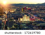 Stock photo las vegas december aerial view of the west side of the strip at sunset the las vegas 172619780