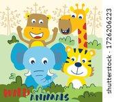 wildlife animal funny cartoon... | Shutterstock .eps vector #1726206223