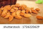 Closeup Of Organic Almonds...