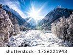 Sunrise Winter Snow Mountains...