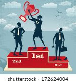 Abstract Businesswoman celebrates on Winning Podium. Great illustration of Retro styled Businesswoman proudly standing on the winners podium next to her business rivals with her trophy.   - stock vector