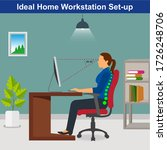 ideal ergonomics work from home ... | Shutterstock .eps vector #1726248706