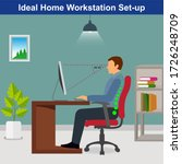 ideal ergonomics work from home ... | Shutterstock .eps vector #1726248709