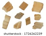 Set Of Wood Chips On A White...