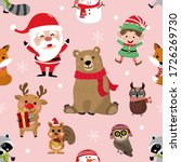 Cute Forest Animals And Santa...