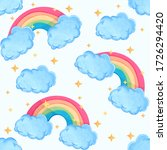 cute pattern with clouds ... | Shutterstock . vector #1726294420