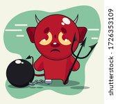 legcuff and devil cartoon... | Shutterstock .eps vector #1726353109
