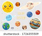 solar system with cute cartoon... | Shutterstock . vector #1726355509