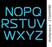 3d realistic blue neon letters. ... | Shutterstock .eps vector #172644380