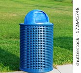 blue trash can in park  | Shutterstock . vector #172645748