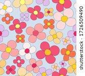 flower power  retro pattern ... | Shutterstock .eps vector #1726509490