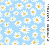 daisy flower seamless on blue... | Shutterstock .eps vector #1726554610