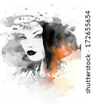 woman face. hand painted... | Shutterstock . vector #172655654