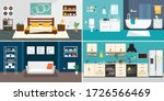 set of vector interiors with... | Shutterstock .eps vector #1726566469