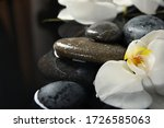 Spa Stones And Orchid Flowers...