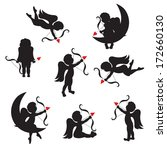 set of cute cupid silhouettes...   Shutterstock .eps vector #172660130