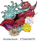 colorful siamese fighting fish... | Shutterstock .eps vector #1726626070