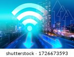 wifi icon on the background of... | Shutterstock . vector #1726673593
